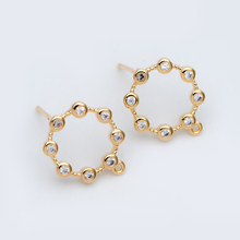10pcs CZ paved Gold Circle Ear Posts, Geometric Stud Earrings with Loops, DIY Earring Findings (GB-750)(China)