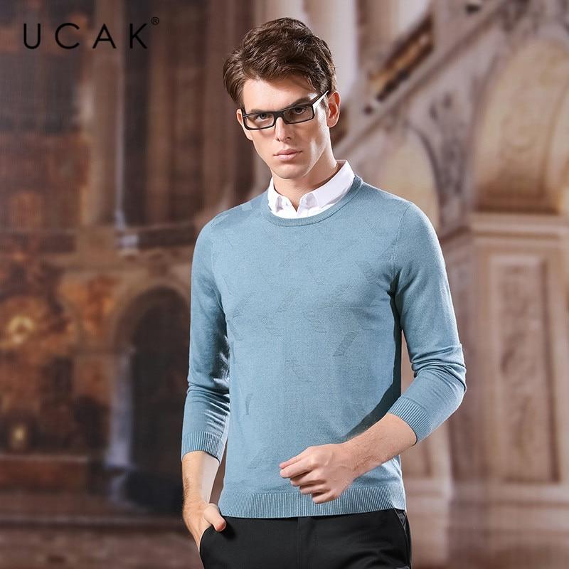 UCAK Brand Sweater Men 2020 New Arrival Streetwear Casual Turn-down Collar Print Spring Autumn Cotton Fashion Pullover U1040
