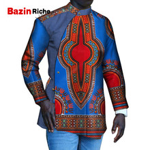 2019 Dashiki African Men Shirt Java Pattern Full Sleeve Button Stand Neck Fashion Casual Top WYN912