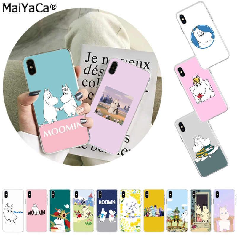 MaiYaCa カバムーミンかわいい動物 carto TPU 黒電話ケースカバーシェルのための iphone 11 プロ 8 7 66S プラス X XS 最大 5S 、 SE XR カバー