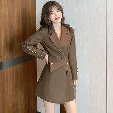 Terno feminino vestido curto 2020 outono e inverno novo estilo de manga comprida vestido botão decoração terno colarinho vestidos de negócios quente