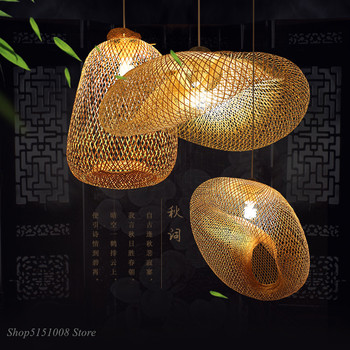 China Handmade Bamboo Weaving Pendant Lamps Countryside Restaurant Hanging Lamps Personality Coffee LED Pendant Lights Kitchen