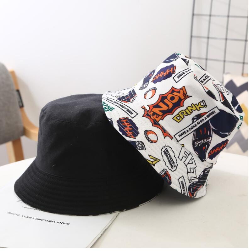 2020 Two Side Reversible Coke Drink Bucket Hat For Kids Hip Hop Fisherman Hat Children Panama Bob Hat Summer Sun Flat Hat