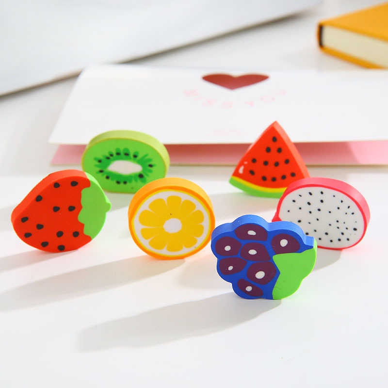 P172 New Products Creative Cartoon Fruit Series Rubber Eraser Students Gift Strawberry Watermelon Rubber Eraser Pack Of 2