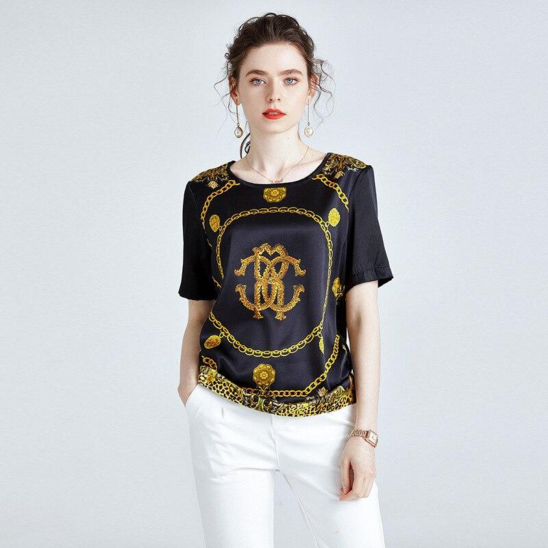 19mm lourd soie t-shirts noir impression tache t-shirts été à manches courtes femmes O cou pull décontracté doux Punk dames hauts 2020 nouveau