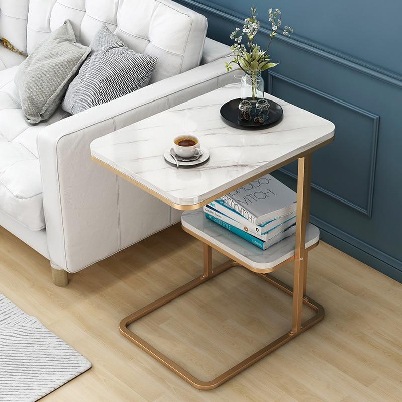 Creative Multi-function Side Table Living Room Small Tea Table Sofa Corner Iron Frame Sqaure Round Coffee Table Sofa Side