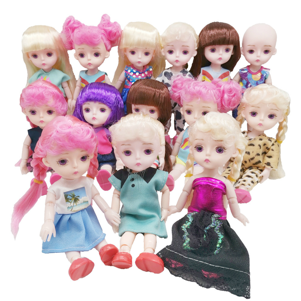 16cm Original Girls BJD Doll 13 Joint Baby Toys Cute Pink Wig With Purple Eyes Princess Doll Dress Up Baby Toys For Kids Gift