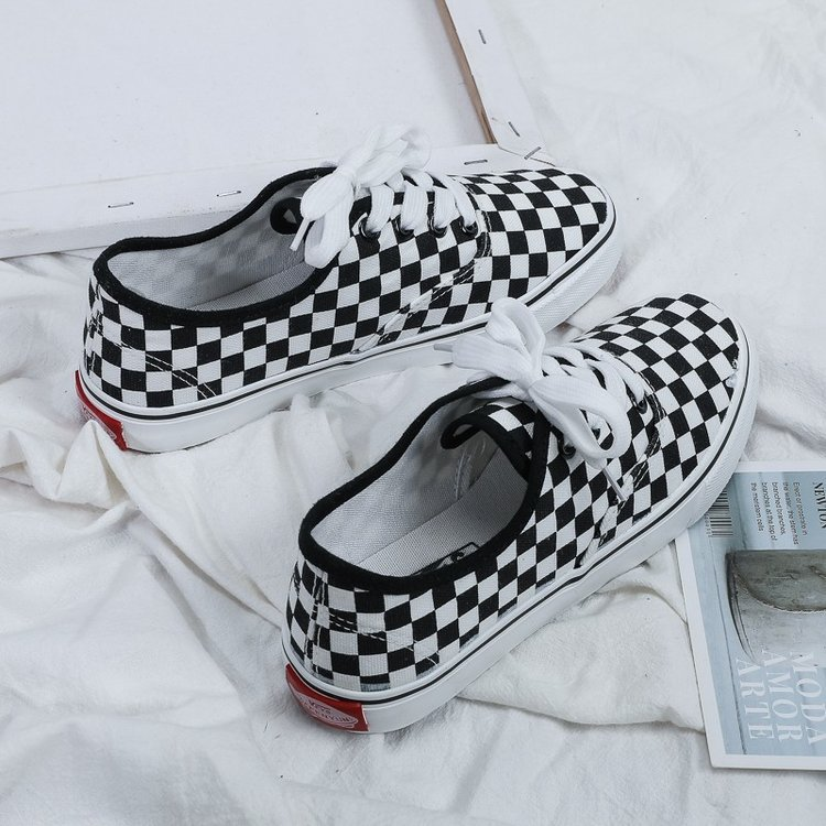 Sneakers Women Flat Shoes Female 2020 Plaid Canvas Casual Lace-up Breathable Mesh Sneakers Ladies Shoes Women Walking Shoes