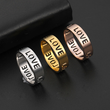Teamer Gold Color Stainless Steel Rings for Women Hollow Out Letter LOVE Wedding Engagement Jewelry for Men Couple Gifts womens mens love you forever ecg rings gold color stainless steel wedding engagement promise rings for women men couple jewelry