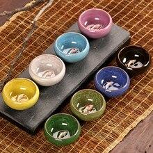CJ272 красочный ледяной хрустящий фарфор 8 цветов чайная чашка с рисунком рыбы керамический чайный набор кунг-фу