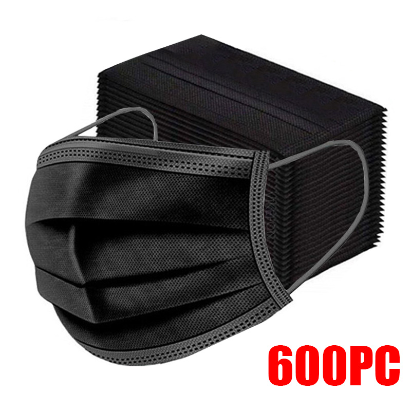 10-600pcs Mask Disposable Face Mask Black Nonwove 3Layer Mouth Mask filter Anti Dust Breathable Protective Adult masks Fast Ship 1
