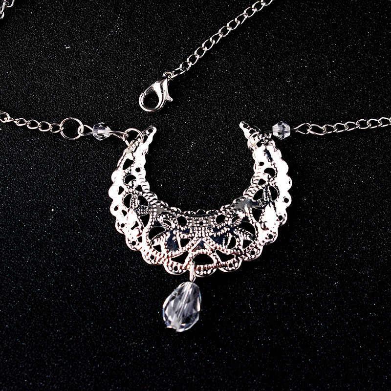 Cadena de cabeza de luna de Cristal Bohemia para mujer, cadena de cabeza hueca de media luna, diadema para fiesta de graduación, joyería para el cabello para niñas