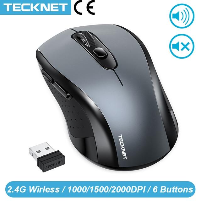 TeckNet 2.0 USB Mouse Senza Fili Del Mouse Del Computer Con Ricevitore Wireless 2.4G Mouse 2000DPI 10M SUPER Mouse Per Computer senza fili PC Del Computer Portatile