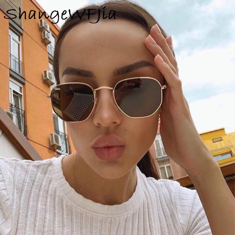 Men Sunglases Hexagon Sun glasses NEW Women Metal Frame Fishing Glasses Gold tea Eyewear lentes de sol hombre okulary UV400