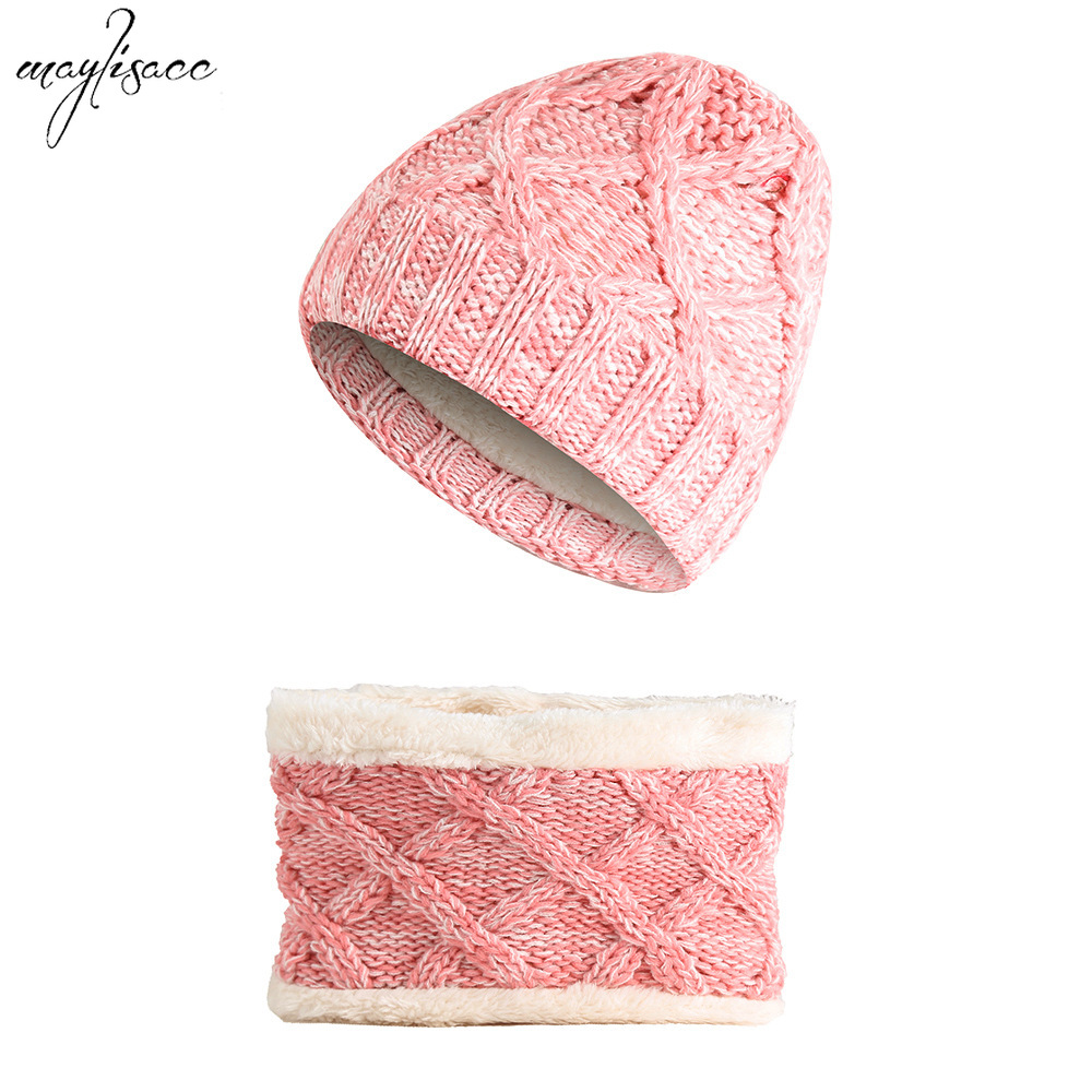 Children's Thickened Color-mixing Hat Snood Two-pieces Set Winter Warm Boys Girls Knitted Hat Cap Scarf Set 1-8 Years Old