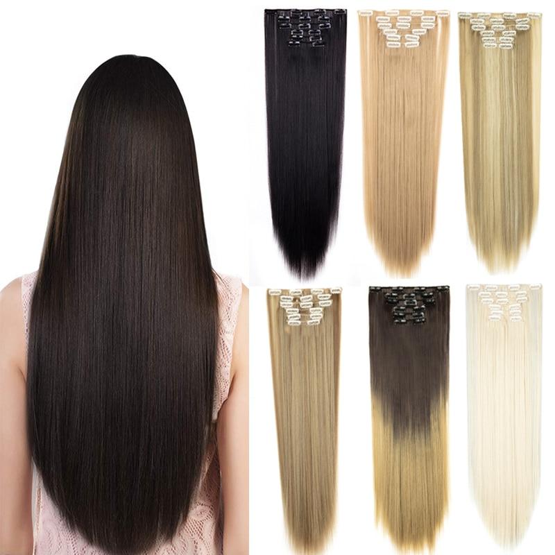 Набор женских длинных прямых волос, 26 дюймов, 24 дюйма, полный набор из 6 кудрявых волос с 16 зажимами, удлинители черного, коричневого, смешанн...