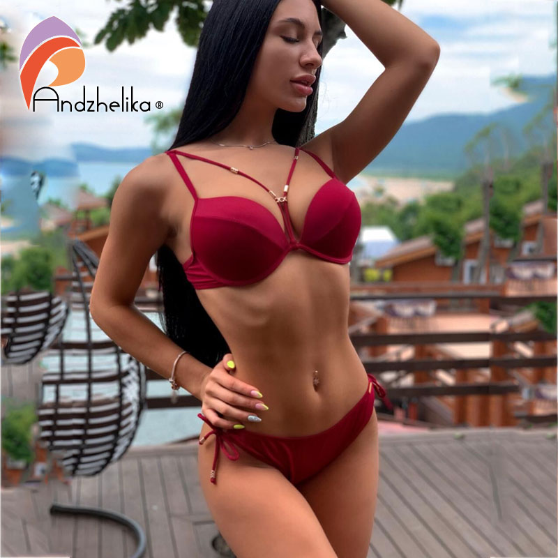 Anadzhelia Women Bikini 2019 Summer New Sexy Bandage Bikini Set Large Cup Push Up Swimwear Brazilian Beach Bathing Suit AK5922-2
