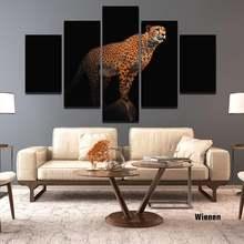 Hd Печать панно с животными Леопардовый группа рисунок на холсте