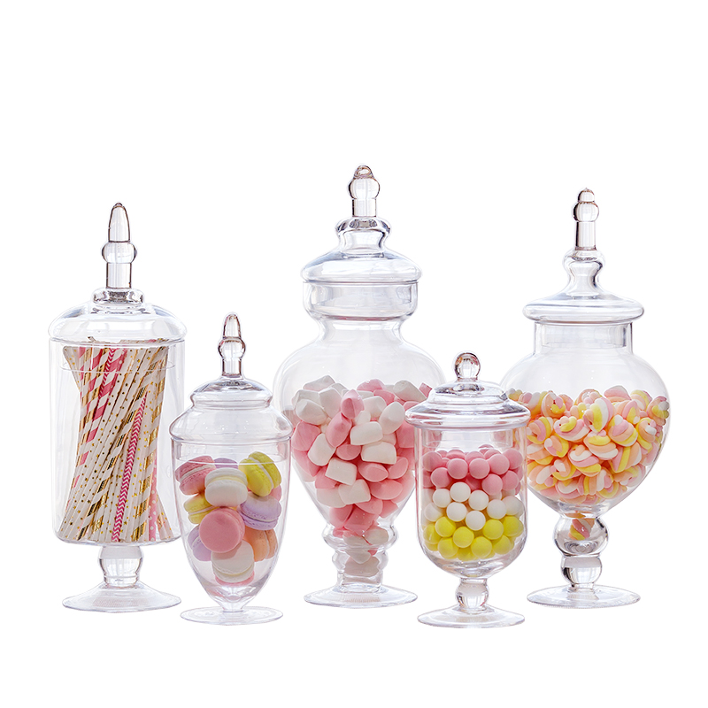 5pcs set Modern West European Style Strong Glass Storage Tank Glass Candy Jar Home Wedding