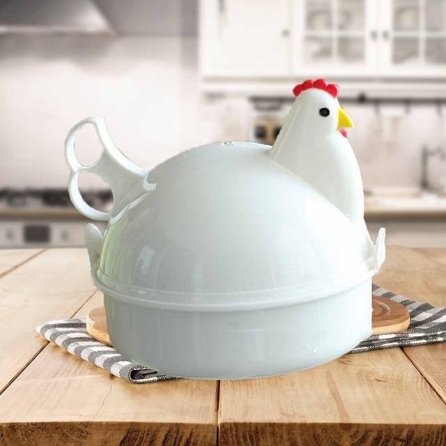 Stainless Steel Chicken Shaped Microwave 4 Eggs Boiler Cooker Egg Poachers