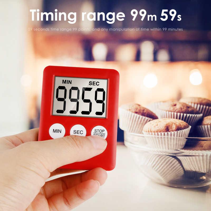 1 pçs simples 3 botões cozinha temporizador fino lcd tela digital de plástico cozinhar contagem regressiva alarme ímã relógio temporizador