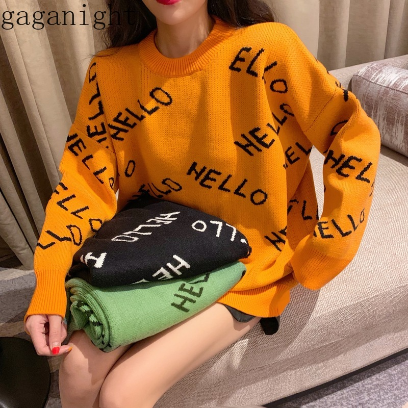 Gaganight Hello Loose Casual Women Sweater Long Sleeve O Neck Korean 2019 New Fashion Autumn Winter Girls Letter Pullover Female
