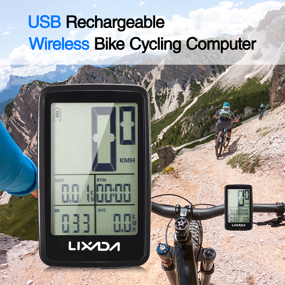 Lixada Bike Computer Waterproof USB Rechargeable Wireless Bicycle Computer Bicycle Speedometer Odometer GPS Bike Power Meter