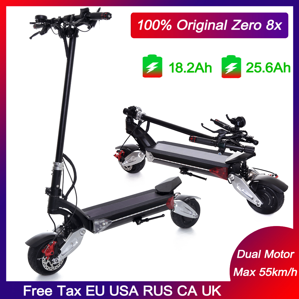 Newest Zero 8X Mini electric scooter dual motor 52V1600W off-road 55km/h Wide wheel,Folding handle,double charger