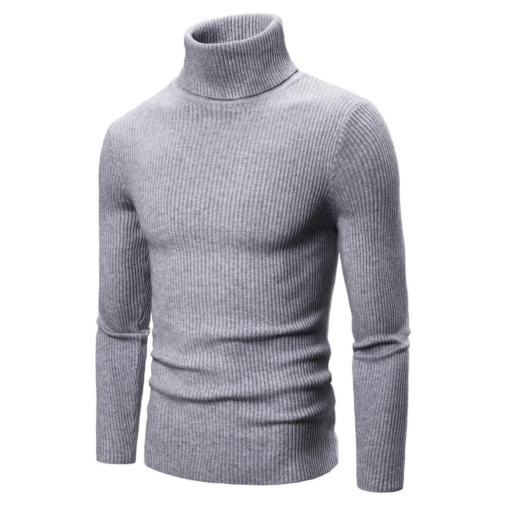 NEGIZBER New Autumn Winter Men's Sweater Solid Slim Fit Men's Turtleneck Thick Warm Sweater Mens Pullovers Quality Pull Homme