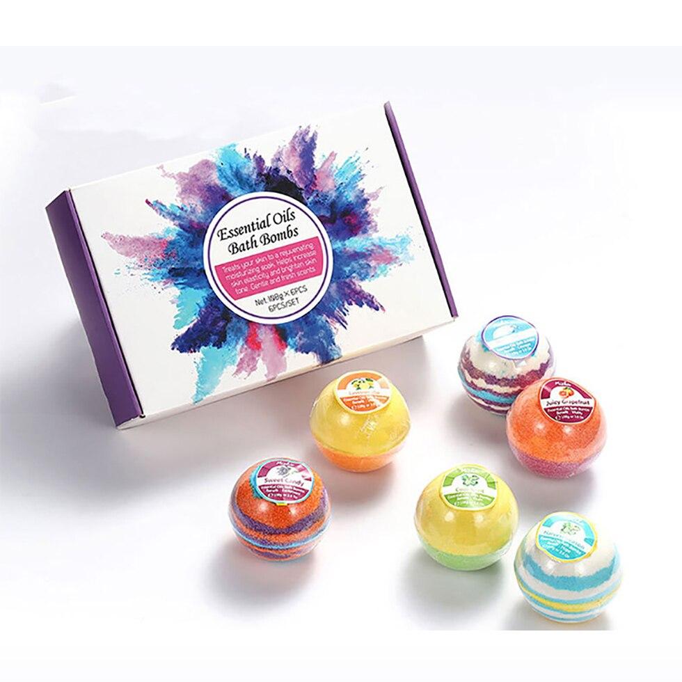 Organic & Natural Essential Oil Bath Bombs Bath SPA Fizzies Bath Salt Rich Bubble Bombs Ball For Women 108g XXL Size 6 Pcs /set