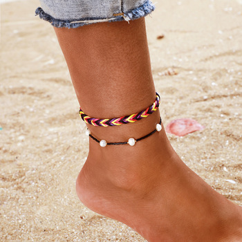 Amazon Cross-Border Ornament National Style Hand-Woven Colorful Cord Pearl Anklet 2-Piece Set for Both Men and Women image