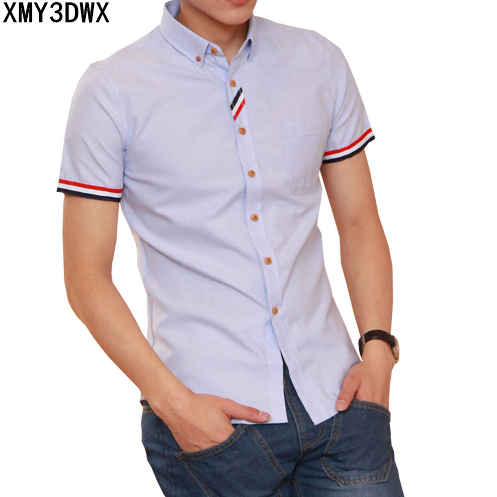 Mens Casual Cotton Shirt Male Office Fashion Solid Business Casual Shirt Male Clothes Lapel Short Sleeves Summer Slim Fit Shirts