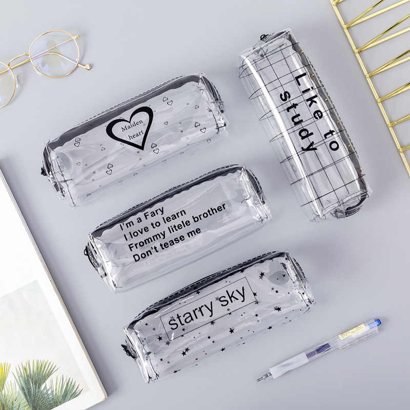 1Pcs Kawaii Pencil Case Cartoon Transparent letter octagonal School Pencil Box Pencilcase School Supplies Stationery