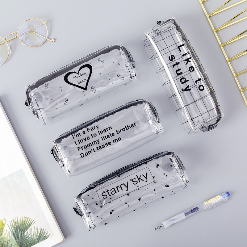 1Pcs Kawaii Pencil Case Cartoon Transparent Letter Octagonal School Pencil Box Pencilcase School Supplies Stationery
