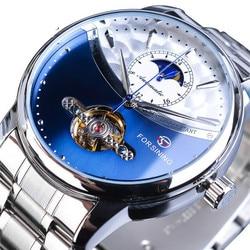 Luksusowa marka automatyczny zegarek mechaniczny mężczyźni biznes ze stali nierdzewnej wodoodporne męskie zegarki sportowe Relogio Masculino w Zegarki mechaniczne od Zegarki na