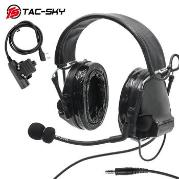 TAC SKY Tactical COMTAC III Upgraded Noise Reduction Pickup Tactical Headset and Military Intercom Tactical  PTT U94 PTT   BK tac sky new comtac iii tactical hunting noise reduction pickup military shooting headset arc helmet track adapter u94 ptt fg