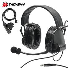 TAC-SKY military adapter KENWOOD U94 PTT + COMTAC III silicone earmuffs noise reduction pickup tactical headset BK