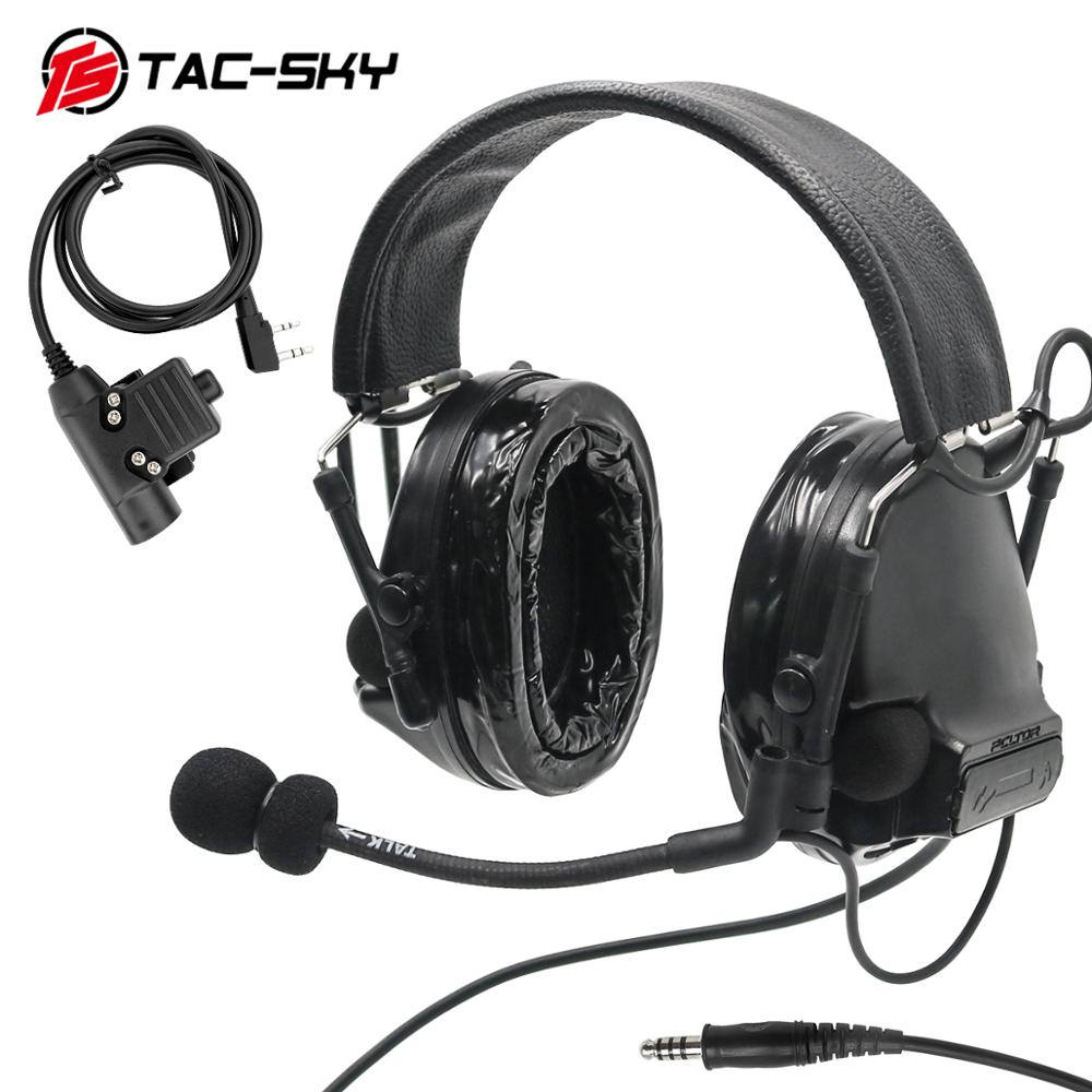 TAC-SKY Military Walkie-talkie Adapter KENWOOD U94 PTT + COMTAC III Silicone Earmuffs Noise Reduction Pickup Tactical Headset BK