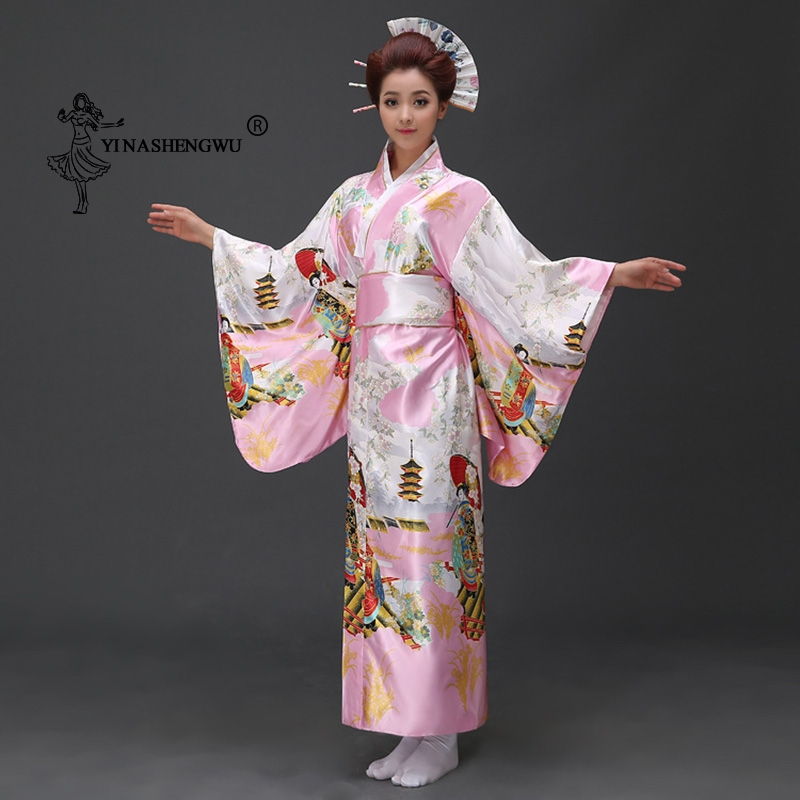 Japanese Traditional Floral Print Long Kimono Stage Costume Japan Femmes Cosplay Cotume Asian Clothings Sexy Geisha Yukata Women