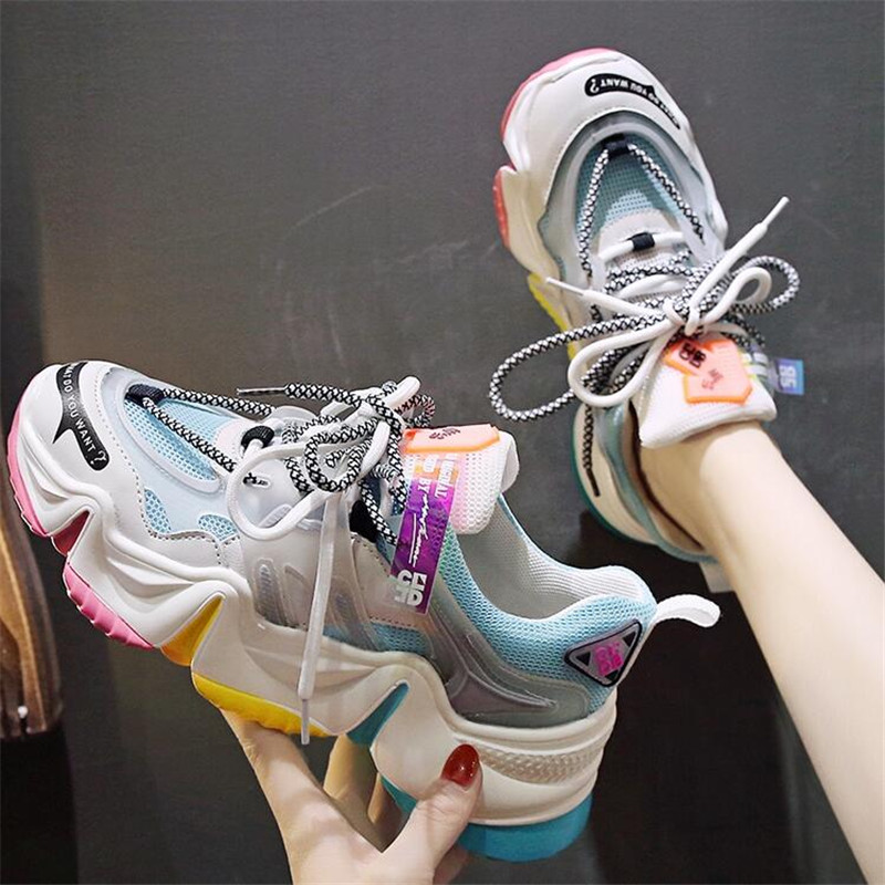 2020 Women Summer Chunky Sneakers Mixed Colors 6cm Platform Basket Female Fashion Luxury Designers Vulcanized Casual Shoes