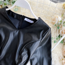 Women PU Lace Patchwork Elegant Slim Dress