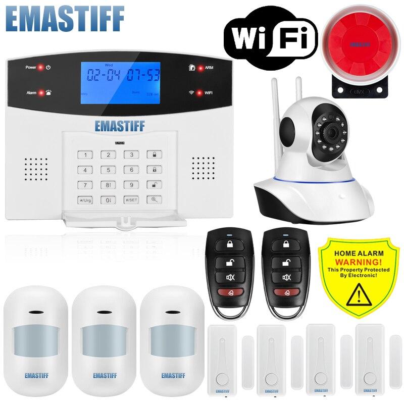 Ios android app com fio sem fio de segurança em casa lcd pstn wi fi gsm sistema de alarme intercom controle remoto kit sensor sirene discagem automática