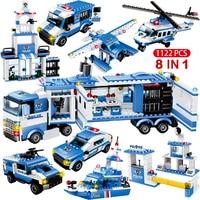 1122pcs 8IN1 SWAT 도시 경찰 트럭 자동차 빌딩 블록 호환 도시 경찰 역 벽돌 장난감 소년 어린이위한