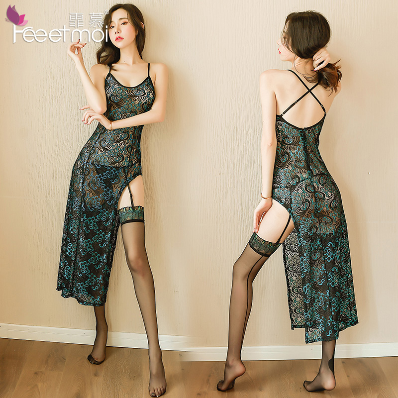 High-end Chinese cheongsam woman sex appeal night dress peacock hollow embroidery retro dress Adult games cosplay Sex uniform