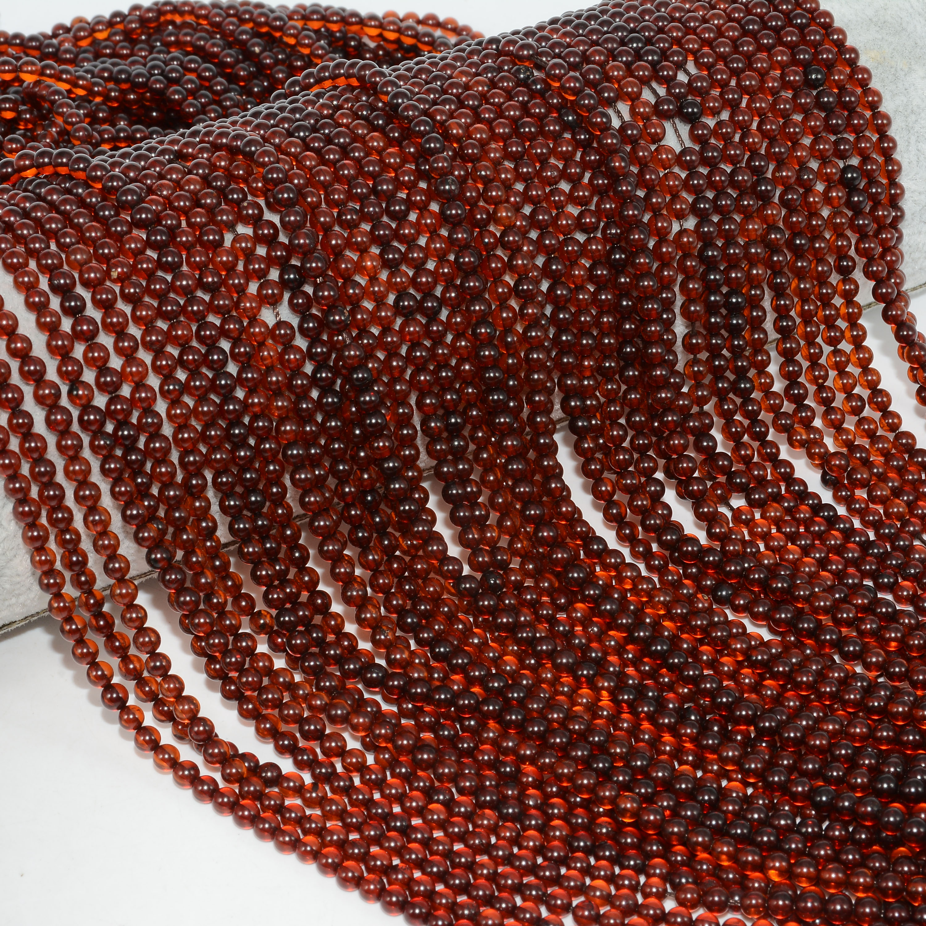 Genuine Natural Baltic Congnac Amber Small Loose Round Beads 3mm-3.2mm(China)