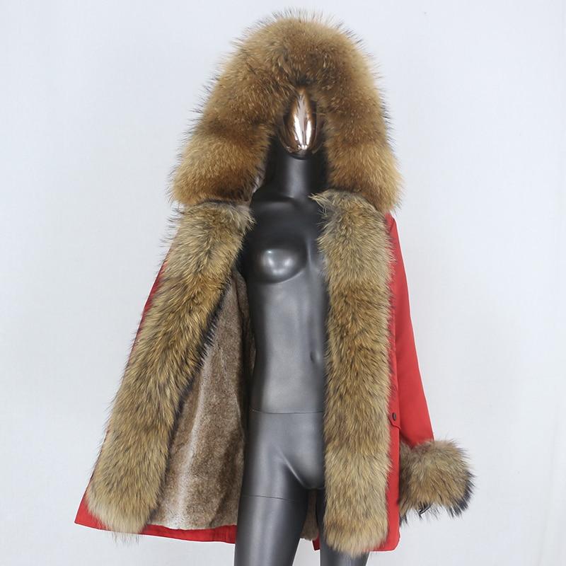 H8aa4418da0ff4110b37513ded1674ddfK CXFS 2021 New Long Waterproof Parka Winter Jacket Women Real Fur Coat Natural Raccoon Fur Hood Thick Warm Streetwear Removable