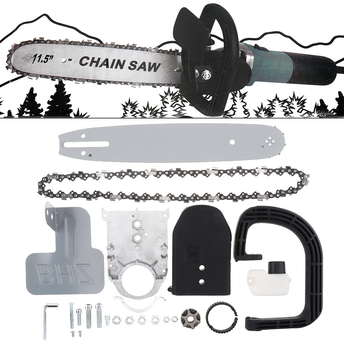 11.5 Inch M10 Upgrade Small Angle Grinder Electric Chain Saw Parts Converter Set Chainsaw Bracket Wood Cutting Tools
