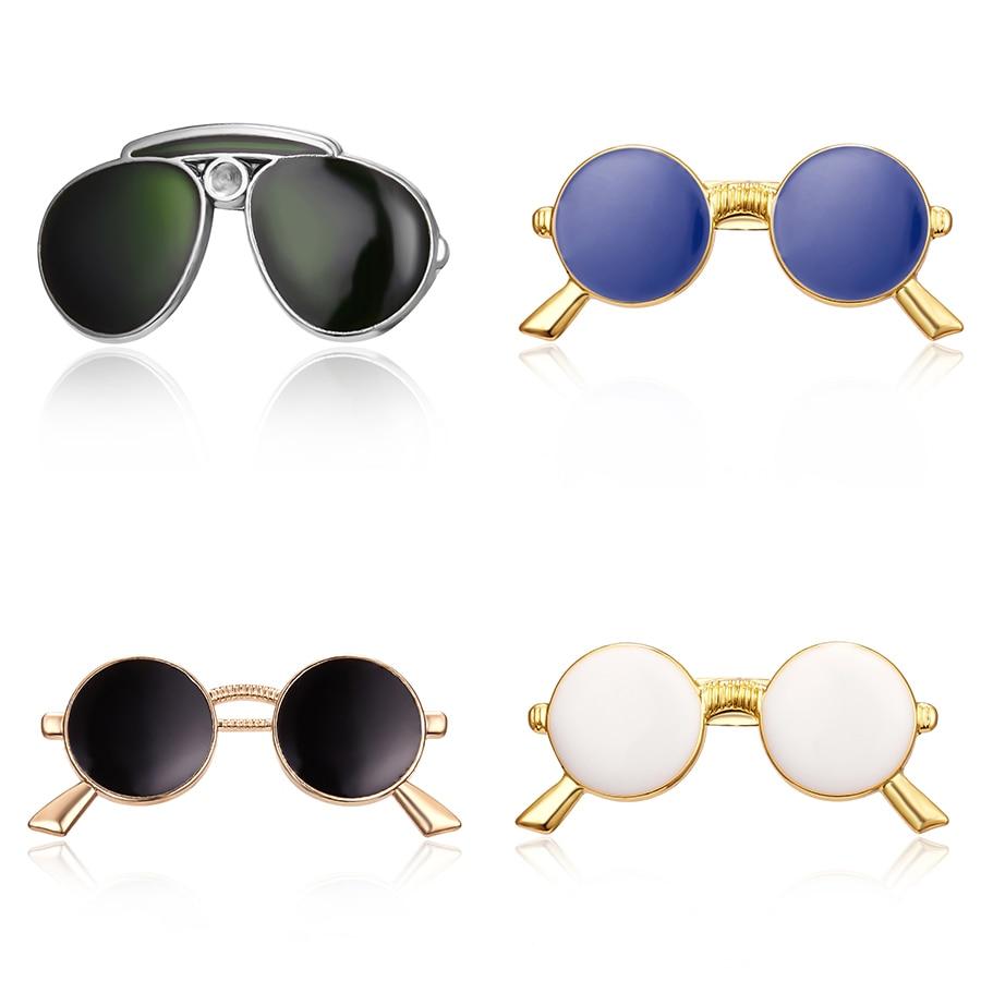 Lapel Pins Brooches Enamel White Black Blue Glasses Sunglasses Pins for Women Men Suit Shirt Dress Collar Badge Jewelry Gift emblem