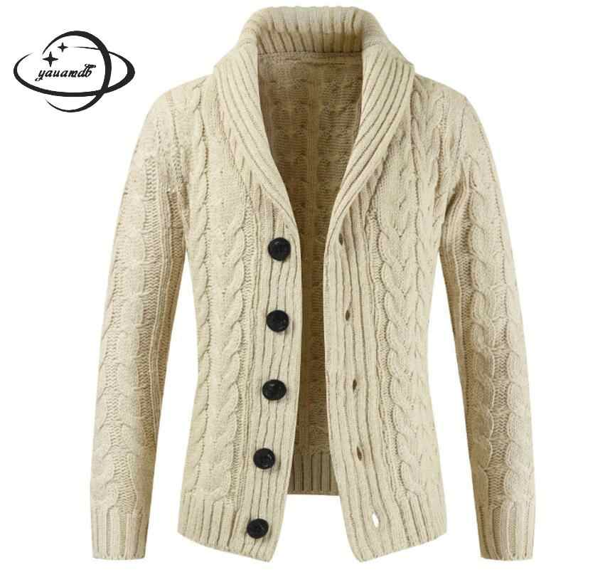 YAUAMDB men sweater 2017 autumn spring size M 2XL male knitted solid cardigan knitwear casual warm single breasted jumper y73