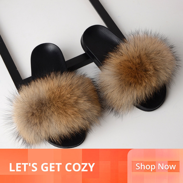 SARSALLYA Fur Slippers Women Real Fox Fur Slides Home Furry Flat Sandals Female Cute Fluffy
